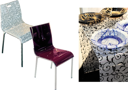 Fashion fabrics and meshes incorporated in Plexiglas